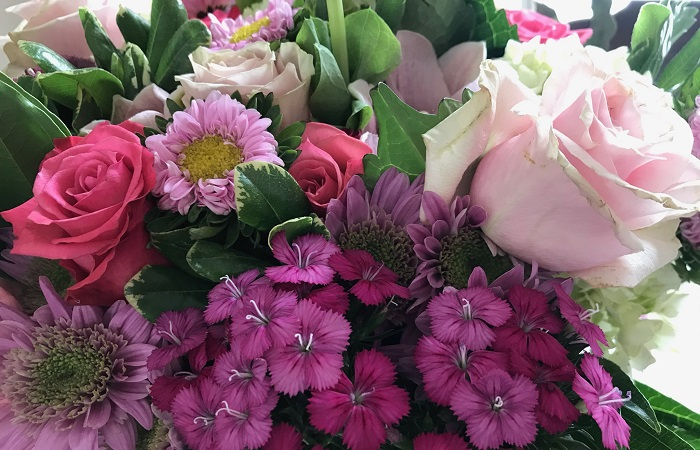 Spring flowers in shades of pink and lavender.