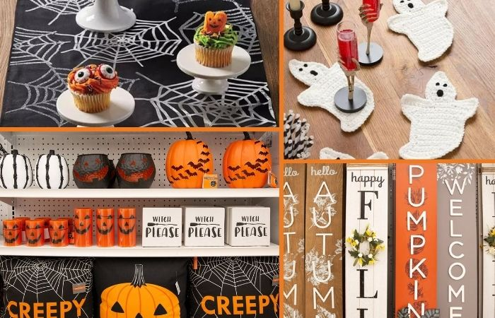 Halloween decorations from JoAnn Fabrics in vibrant fall colors